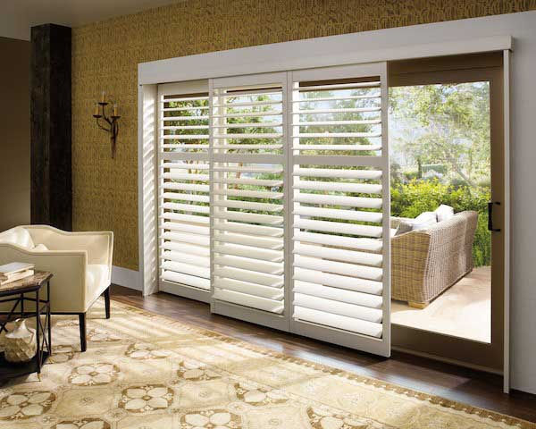 Shutters on a large sliding glass door